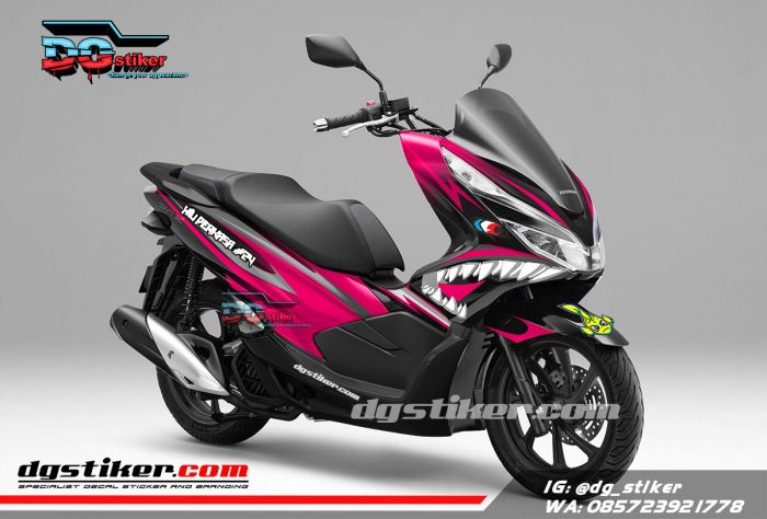 Decal Sticker Honda Pcx New 2018 Lokal Warna Hitam Pink shark DG Stiker