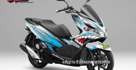 Decal Sticker Honda Pcx New 2018 Lokal Warna putih Biru shark DG Stiker