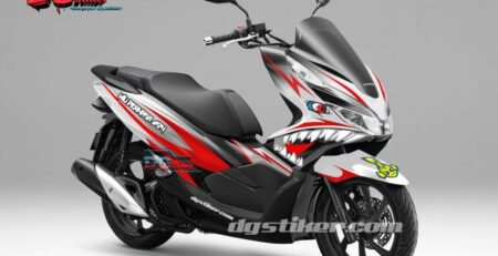 Decal Sticker Honda Pcx New 2018 Lokal Warna putih Merah shark DG Stiker