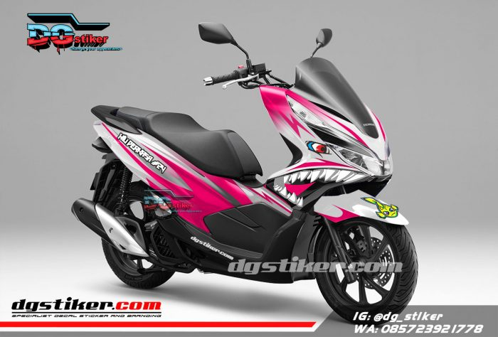 Decal Sticker Honda Pcx New 2018 Lokal Warna putih Pink shark DG Stiker