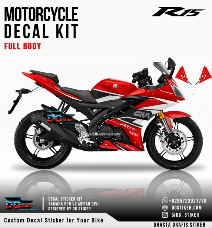 Decal Sticker R15 V2 Merah GIVI DG Stiker