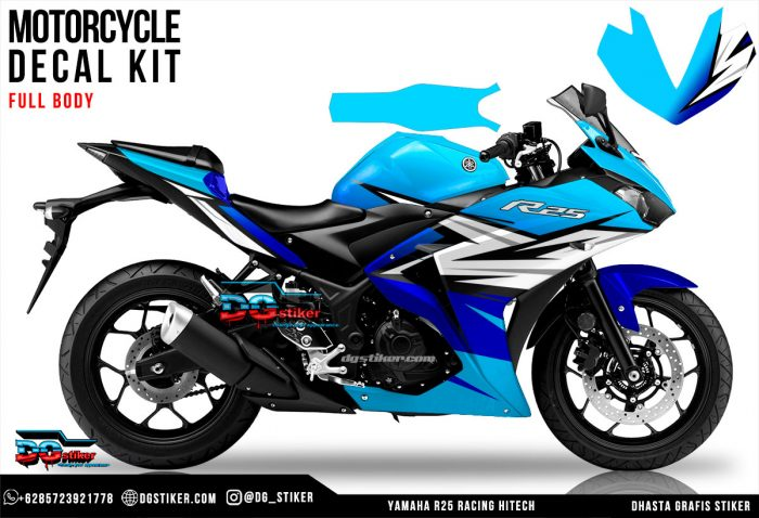 Decal Sticker R25 Sky Blue Racing Hitech DG Stiker