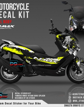 Decal Striping Nmax Hitam Kuning Kanji Splash DG Stiker