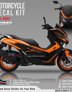 Decal Striping Nmax Hitam Orange Simpel DG Stiker