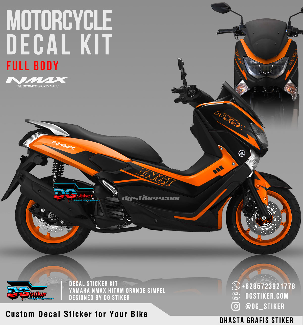 Decal Striping Nmax Hitam Orange Simpel DG Stiker
