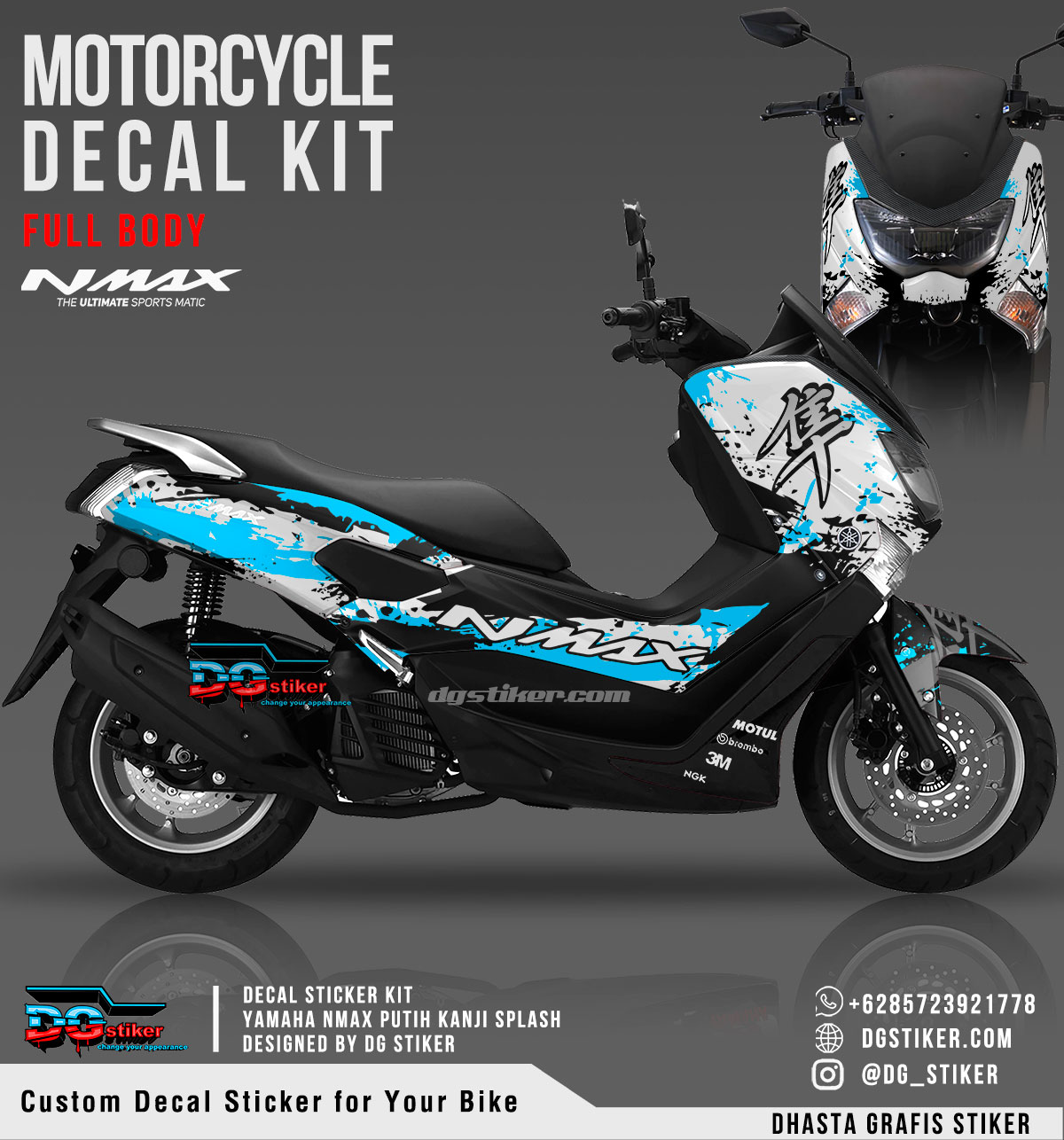 Decal Striping Nmax Putih Biru Kanji Splash DG Stiker