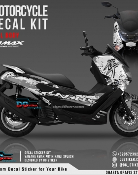 Decal Striping Nmax Putih Kanji Splash DG Stiker