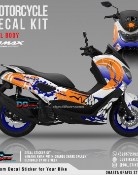 Decal Striping Nmax Putih Orange Shark Splash DG Stiker