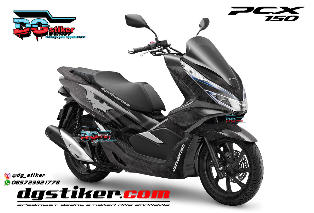 Decal Striping Pcx 150 Black Grunge Batman DG Stiker