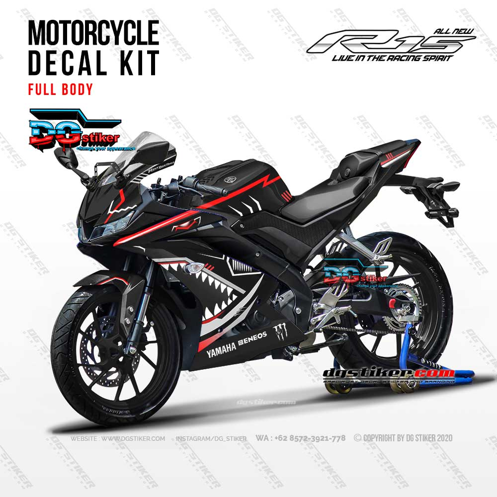 Decal Striping R15 V3 Hitam Shark Hitech DG Stiker