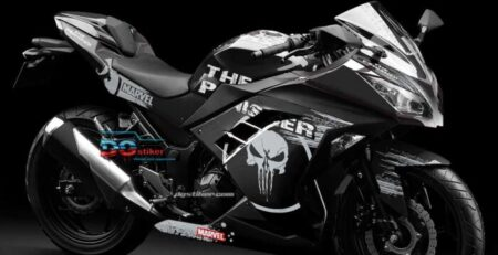 Decal striping ninja 250 fi Hitam Punisher DG Stiker