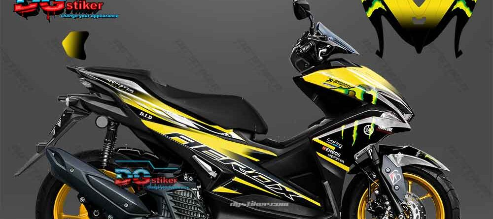 Decal Striping Aerox Kuning Monster DG Stiker