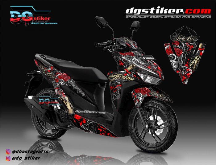 Decal Striping New Vario 150 Hitam Lady Roses DG Stiker