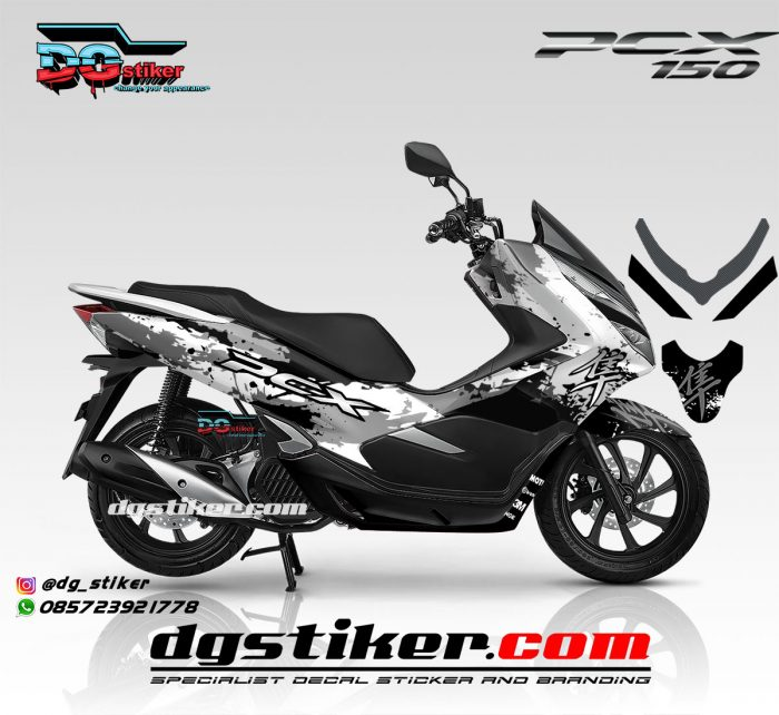 Striping Full Body PCX 150 Lokal Putih Kanji Splash DG Stiker