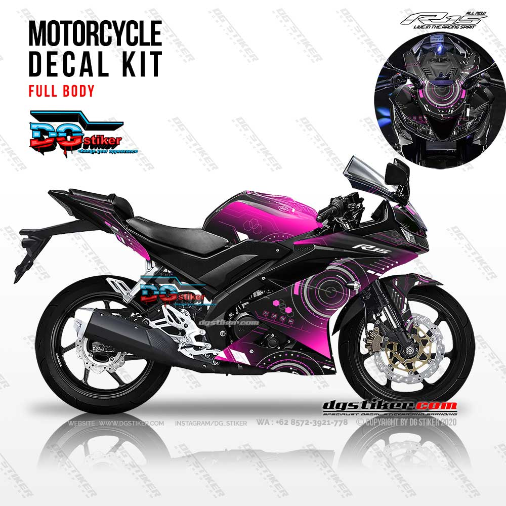 Decal Striping R15 V3 Hitam Pink Hitech DG Stiker