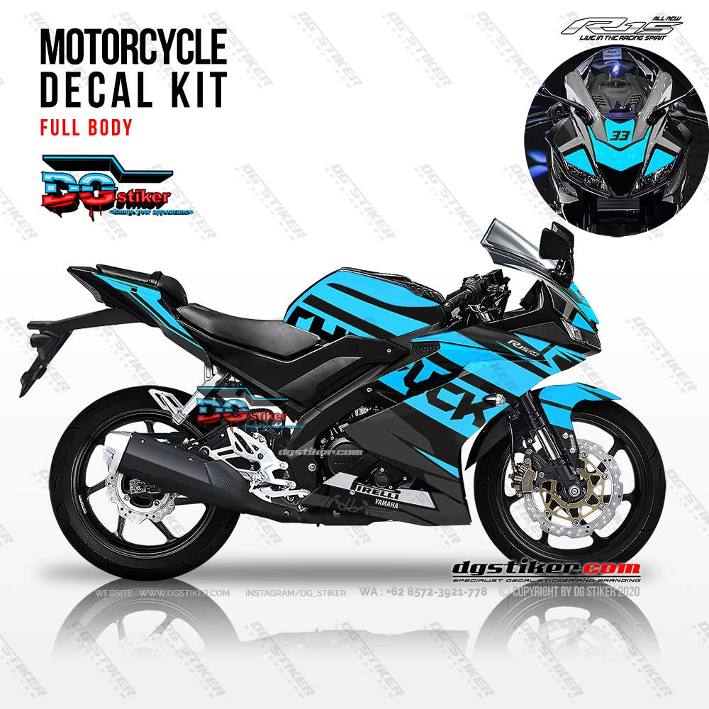 Decal Striping R15 V3 Hitam Sky Blue Elegan DG Stiker