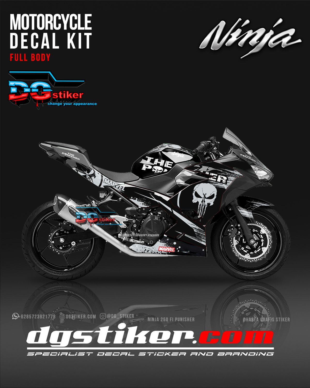 Decal All New Ninja 250 FI Hitam Punisher DG Stiker