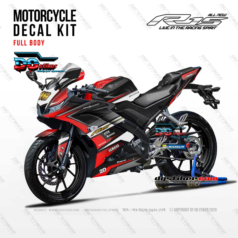 Decal R15 V3 Hitam Merah Racing DG Stiker