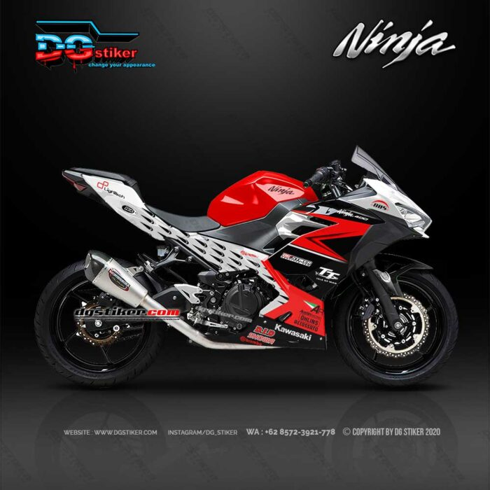 Decal Sticker New Ninja 250 FI Hitam Merah TT Isle Racing DG Stiker
