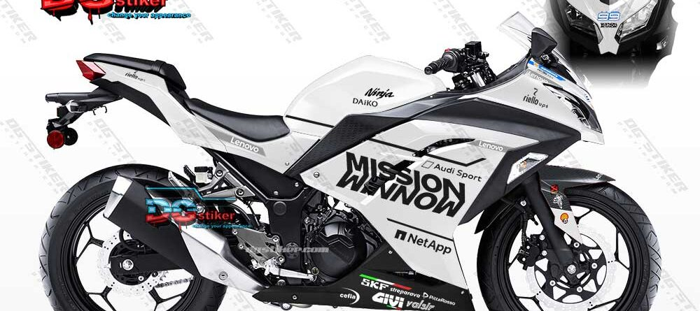 Decal Sticker Ninja 250 FI Putih Merah Mission Winnow DG Stiker