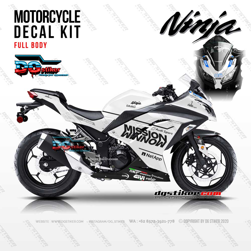 Decal Sticker Ninja 250 FI Putih Merah Mission Winnow DG Stiker