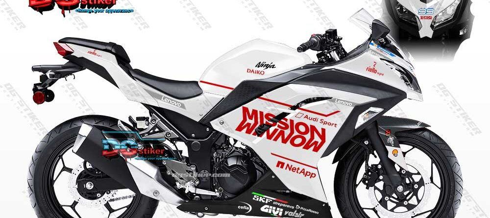 Decal Sticker Ninja 250 FI Putiih Merah Mission Winnow DG Stiker