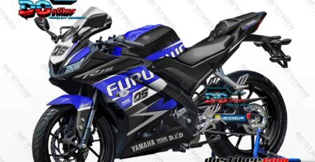 Decal Striping Full Body R15 V3 Hitam Biru DG Stiker