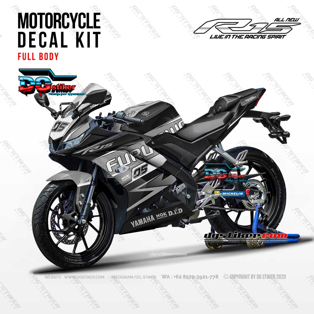 Decal Striping Full Body R15 V3 Hitam abu DG Stiker