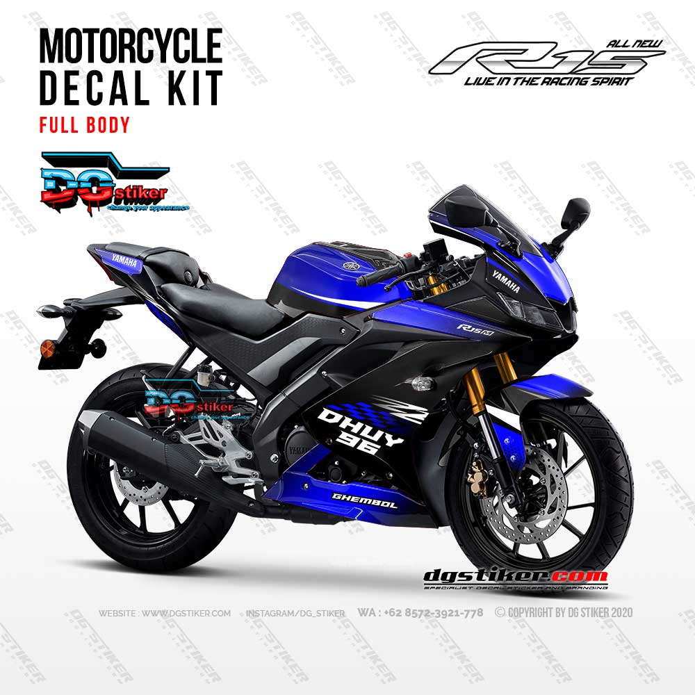 Decal Sticker R15 V3 Biru Bendera Racing DG Stiker