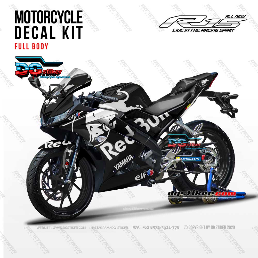 Decal Striping Full Body R15 V3 Hitam Putih Redbull DG Stiker