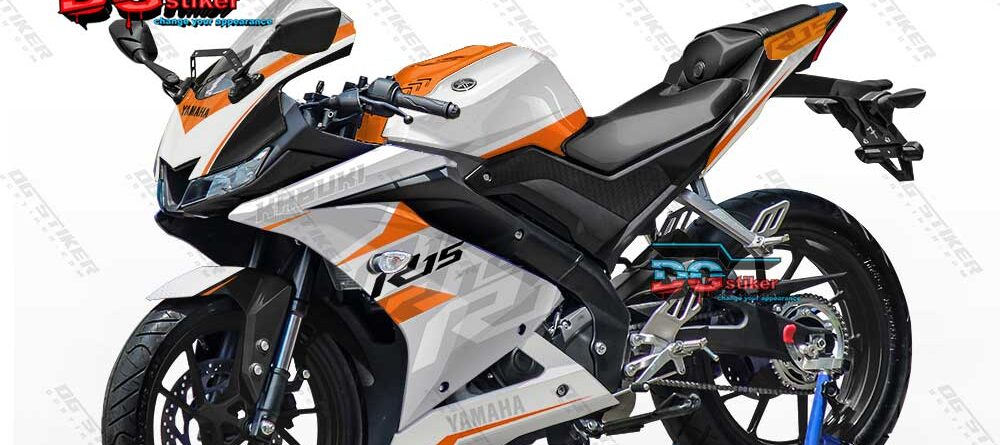 Decal Striping Full Body R15 V3 Putih Orange KTM DG Stiker