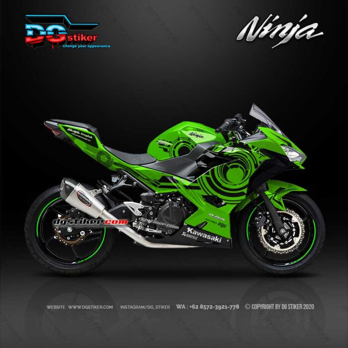 Decal Sticker New Ninja 250 FI Hijau Sunmoon Tribal DG Stiker
