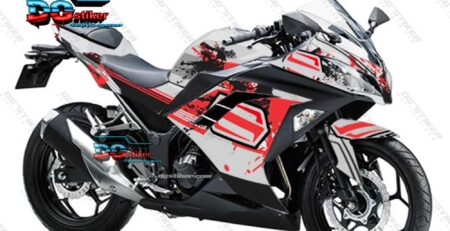 Decal Sticker Ninja 250 FI Putih Bercak DG Stiker