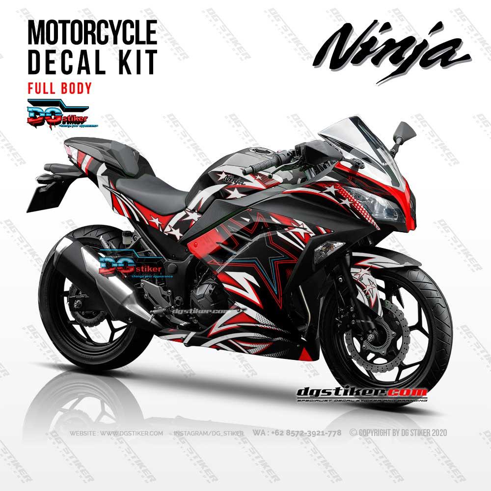 Decal Sticker Ninja 250 Fi Hitam Racing Stars DG Stiker