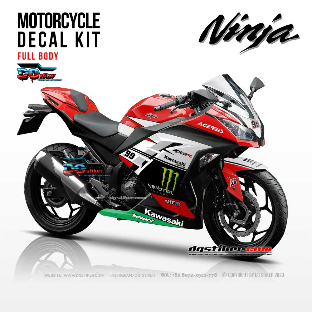 Decal Sticker Ninja 250 Fi Putih Monster DG Stiker