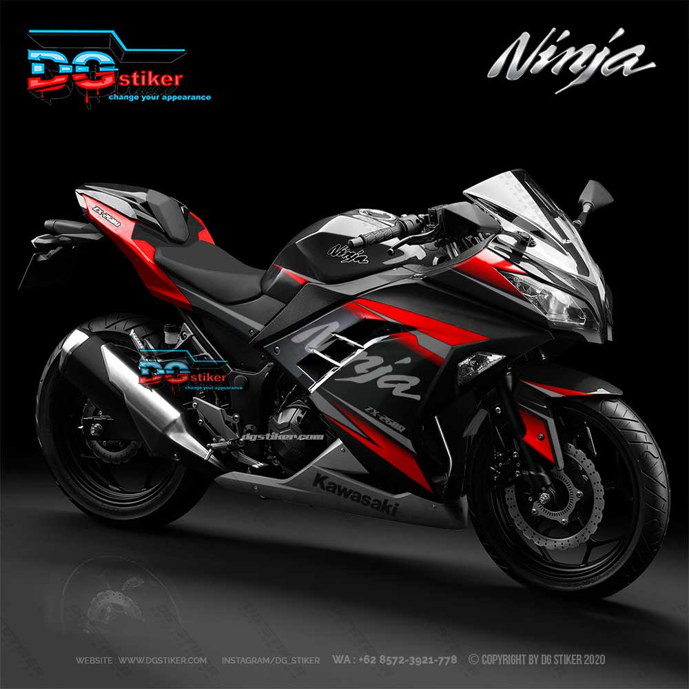 Decal Stiker Ninja 250 Fi Hitam grafis merah