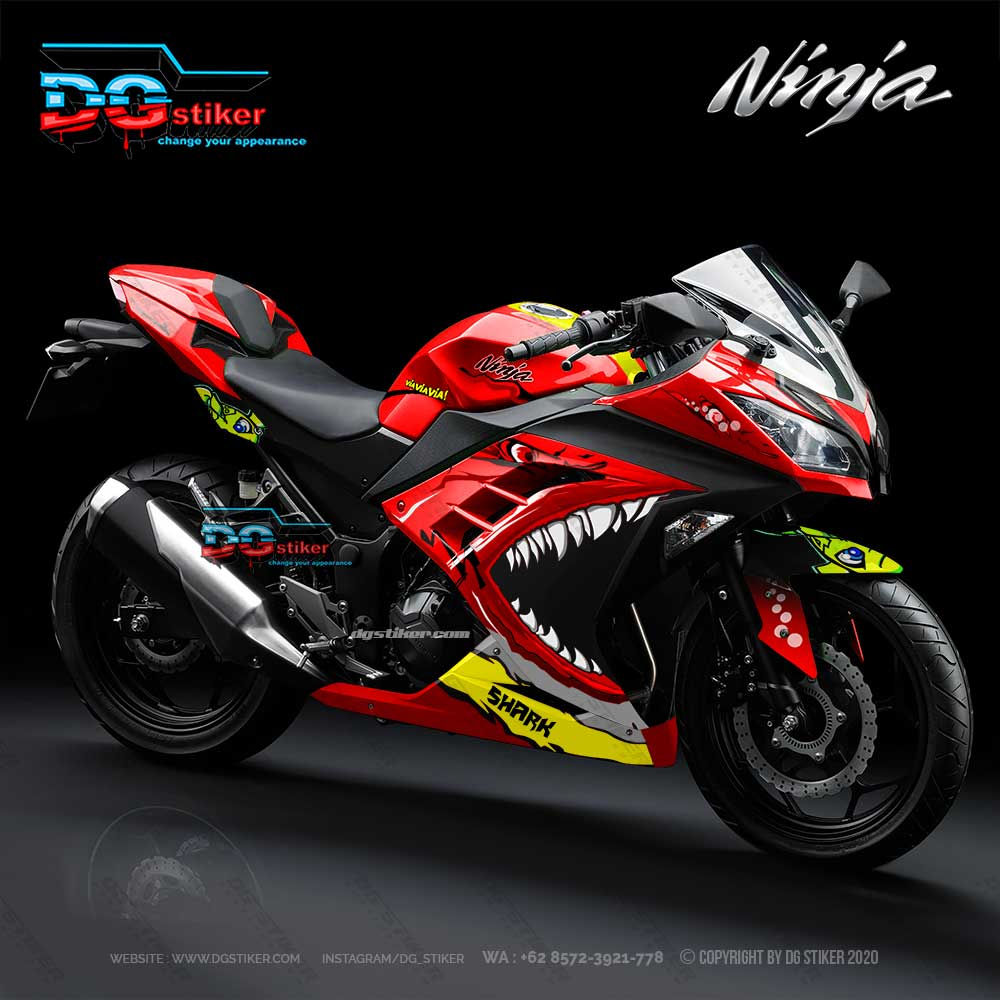 Decal Striping Full Body Ninja 250 Fi Merah Shark 2018 DG Stiker