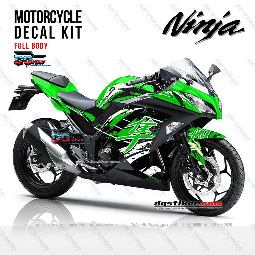 Decal Striping Ninja 250 FI Hijau Kanji Splash DG Stiker