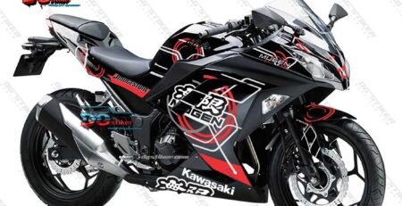 Decal Striping Ninja 250 FI Hitam Mugen DG Stiker