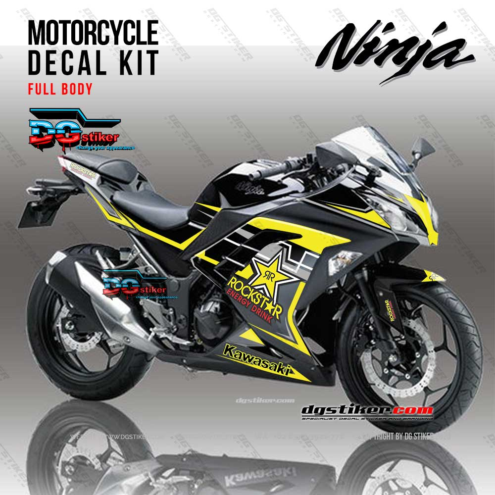 Decal Striping Ninja 250 FI Hitam Rockstars DG Stiker