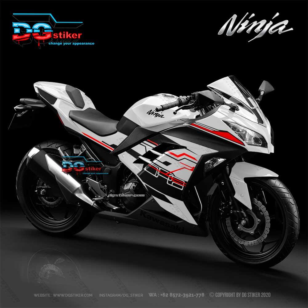 Decal sticker Ninja 250 FI Putih Hitech DG Stiker