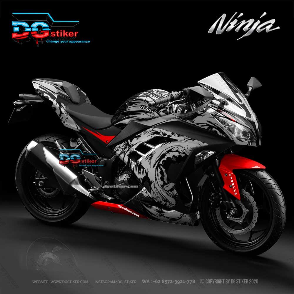 Modifikasi Decal Stiker Ninja 250 FI Hitam Wolf Serigala DG Stiker